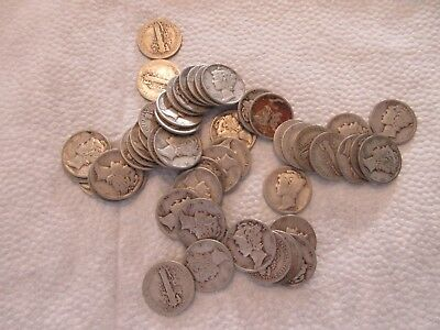 Lot #7F, Roll Of 50 Mercury Dimes, Various Dates/mintmarks, 90% Silver!!