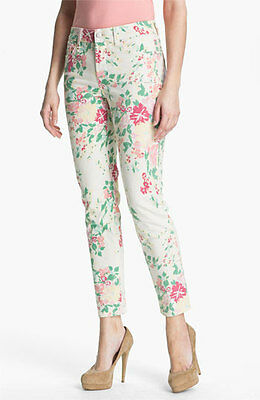 New Nydj Women's Alisha Fitted Floral Print Ankle Jeans Petite Pants Size 10P