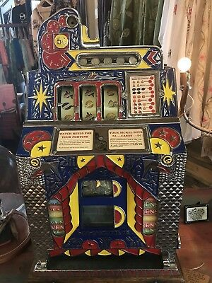 Beautifully  restored 1931 Mills Peacock 5 cent Slot Machine mint vendor.