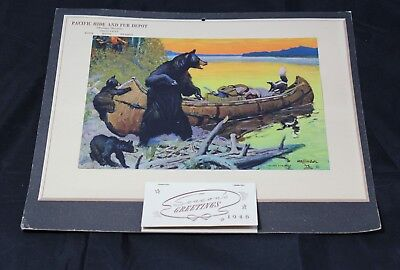 """Pacific Hide And Fur Depot 1946 Calendar """"loaded For Bear"""" Montana Division"""