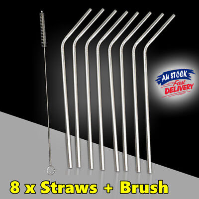 8x Straws Stainless Steel Drinking Metal Straw Bent Reusable Washable Brushes