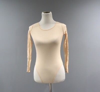 f9c08f8ad128 Gap Mesh Bodysuit Womens Size Medium M High Cut Nylon Peach Long Sleeve F