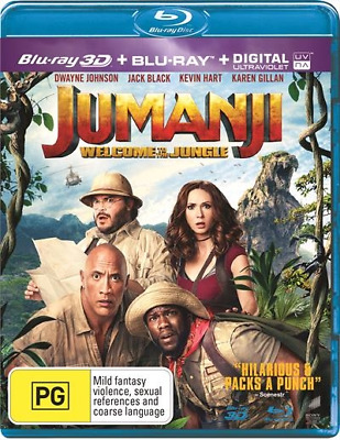 Jumanji - Welcome To The Jungle (2018) (3D + 2D Blu-ray) (Region A,B,C) New