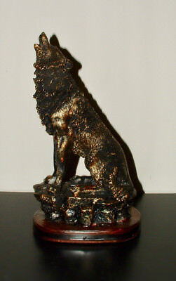 "10"" Polyresin Imitation Bronzed Paint Howling Wolf Collectible Figurine Statue"