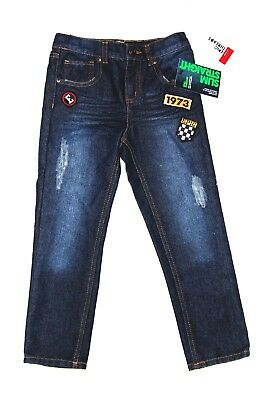 Boys Jeans Epic Threads Denim Pants Slim Straight Fit Patches Blue Sz 6 NWT