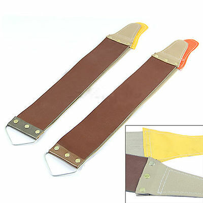 HK- Leather Sharpening Canvas Strop Barber Open Straight Razor Perfect Shave Too