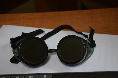 Vintage Welding Goggles Welder Costume Steam Punk Green Vented Dark+Clear lenses