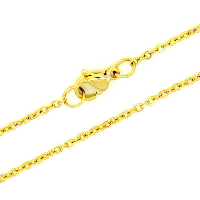 """Long Stainless Steel Necklace 18K Yellow Gold EP 1 mm Rolo Chain 28"""" SSCG001-28"""