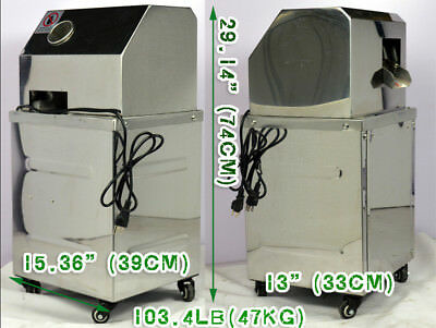 Vertical 110V Electric Sugar Cane Press Juicer Stainless Steel with 3 Rolls