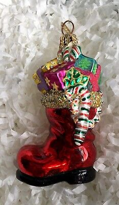 Christopher Radko Glass Christmas Ornament-SANTA'S BOOT FILLED WITH GIFTS
