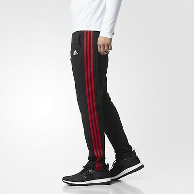 [BR0046] New Men's ADIDAS Performance Tapered 3 Stripe Pants - Black/Red