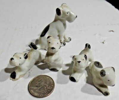 Mother Wire-Haired Fox Terrier with 4 pups, porcelain, Vintage, Japan, Porcelain