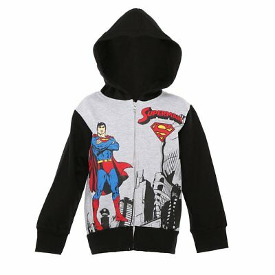 NWT DC Comics Superman Boys Gray Hoodie Hooded Sweatshirt Jacket 5 6 7