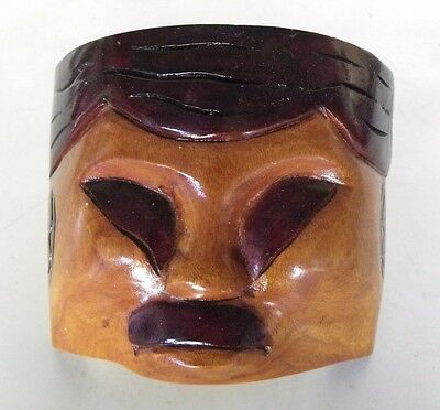 Wooden Carved Chinese Asian Mask Polished Two-Tone Wood Wall Hanging