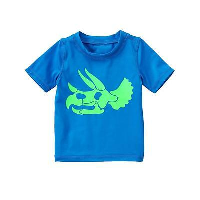 NWT CRAZY 8 Blue Dinosaur Boys Rashguard Short Sleeve Swim Shirt 6-12 12-18 M