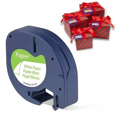 Tape Label Paper Cartridge Black White 12mmx4m For DYMO LETRATAG Makers Printer