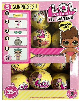 Full Box Case 24 Lol Surprise - Lil Little Sisters - Series 3 Wave 1, Doll Balls