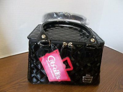 Caboodles Tapered Tote Sassy Makeup Cosmetic Bag Black Quilted Vinyl