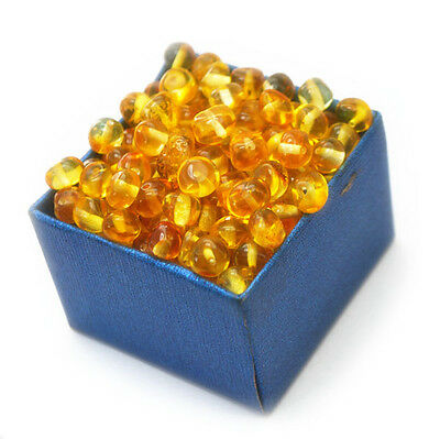 Baltic amber loose beads 100 pcs yellow 8gr.
