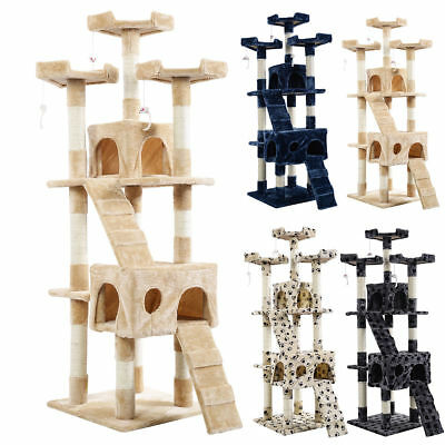 Full Size Cat Tree Tower Condo Furniture Scratching Post Pet Kitty Play House HM