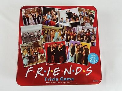 Friends Trivia Game with Picture Cards - Cardinal 2003 - Complete Red Tin