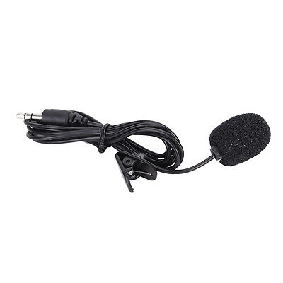Mini 3.5mm Hands Free Mic Microphone Clip On Lavalier Lapel For Laptop Black FL