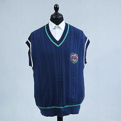 ADIDAS Vtg Mens Vest Club Logo Tennis Cable Knit Sleeveless Jumper SIZE Large