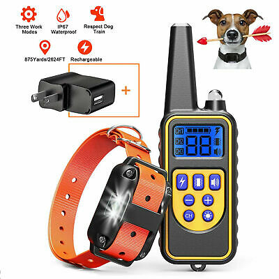 880yard Waterproof Rechargeable Dog Shock Pet Anti-Bark Training Electric Collar