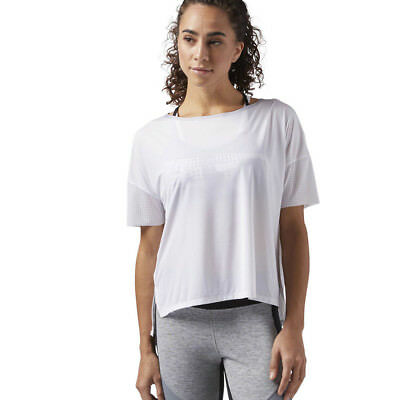 e00d1d60a44ca Reebok Femmes Coupe Large Entrainement Gym Fitness T-Shirt Tee Top Blanc  Sport