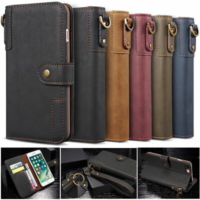 Retro Phone Case for Samsung S10 S9 Real Cow Leather Flip Stand Wallet Cover