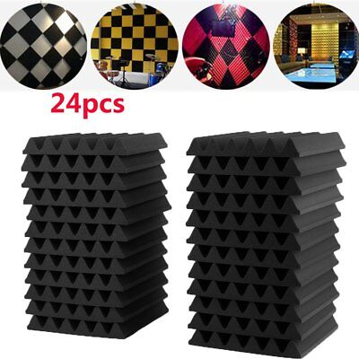 24PC Acoustic Panels Tiles Studio Sound Proofing Insulation Closed Cell Foam