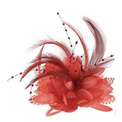 Beauty Flower Feather Bead Corsage Brooch Pin Hair Piece Fascinator Weddings New