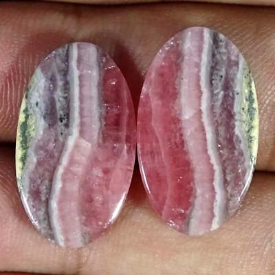 32.00Cts. 100%NATURAL RHODOCHROSITE OVAL CABOCHON PAIR LOOSE AA+ GEMSTONE