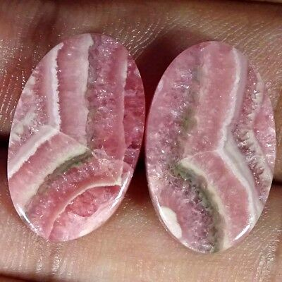 26.80Cts. 100%NATURAL RHODOCHROSITE OVAL CABOCHON PAIR LOOSE AA+ GEMSTONE