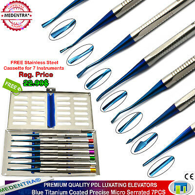 MEDENTRA® Dental PDL Luxating Elevators Root Extraction Micro Serrated 7PCS+TRAY