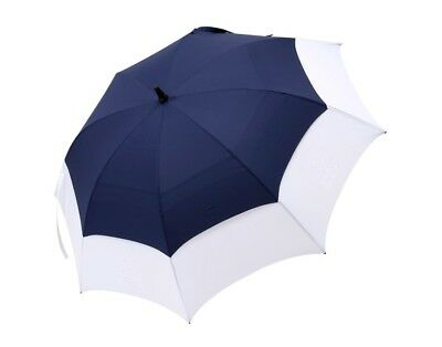 Big Golf Umbrella Automatic Storm Windproof Double Vented Canopy - Blue & White