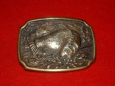 Fishing Vintage 1970's BTS Solid Brass (FISH) Belt Buckle MADE IN USA.