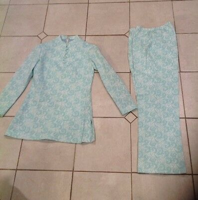 Vintage Womens Polyester Leslie Fay Floral Matching Suit 1960's Kimono Top S