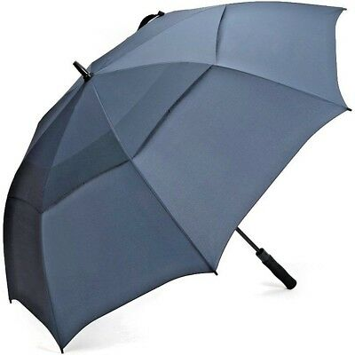 Golf Umbrella Automatic Storm Windproof Vented Canopy Fibreglass - Navy Blue
