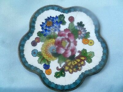 Antique Japanese Inaba Enamel and Cloisonne Scalloped Pin Dish Trinket Plate -