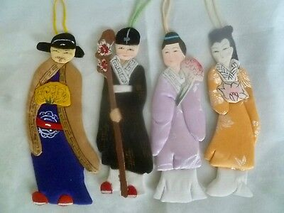 Set of 4 Vintage Chinese Ornaments Bookmarks Figures in Traditional Silk Dress