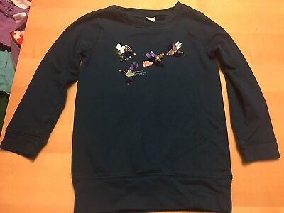 Gymboree Sequined/beaded Sweatshirt, bird image, Turquoise, Size 7,