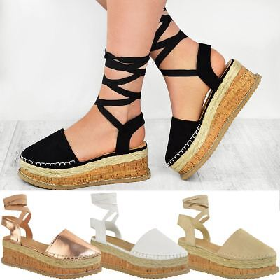Womens Ladies Platform Lace Up Strappy Flatforms Sandals Summer Wedge Shoes Size