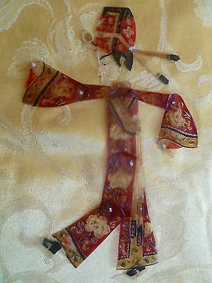 Antique Handmade Chinese Opera Shadow Puppet - male figure