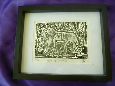 MAN IS ANIMAL Original Signed Framed Block Print - Outsider Artist JOHN SWINTON