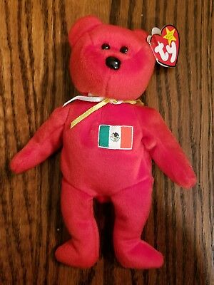 "Ty Beanie Baby Babies - ""Osito"" Red Mexico Bear Mexico Flag NEW with Tags"
