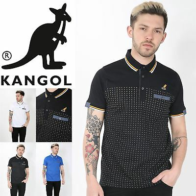 Kangol Mens Stripes Patch Cuffed Sleeves Rich Cotton Stretchy Polo T Shirt Top