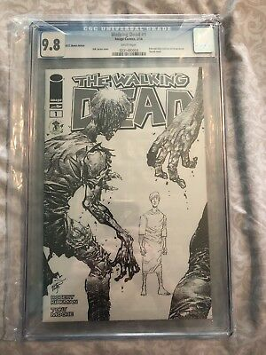 WALKING DEAD #1 EMERALD CITY COMIC CON SKETCH VARIANT CGC 9.8 black and white