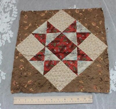 """Early American 18thC Hand Blocked Cotton Quilted 15"""" Square"""