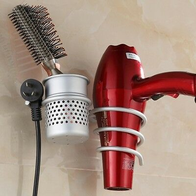 LEEFE Space Aluminum Hair dryer Holder, Wall Mount Spiral Spring Hair Dryer Hang
